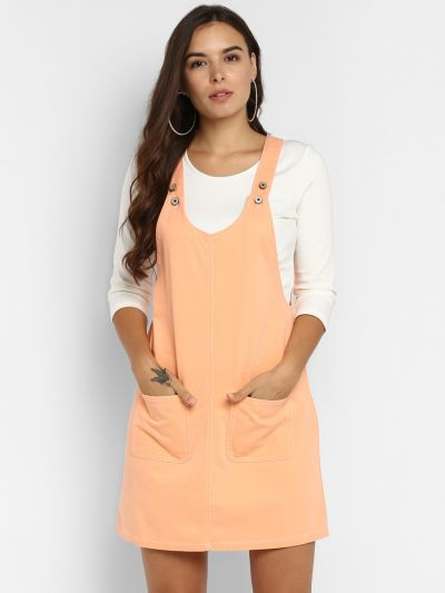 Peach Solid Pinafore Dress