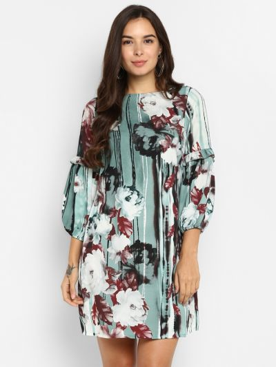 Green & White Floral Printed A-Line Dress