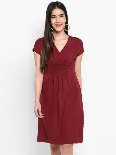 Maroon Solid Fit and Flare Dress