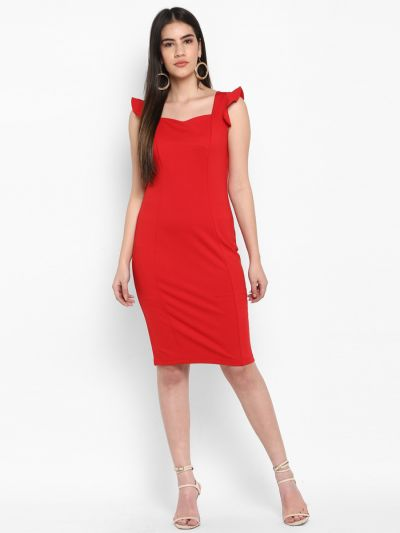 Red Solid Bodycon Dress