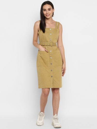 Yellow solid denim strapped dress