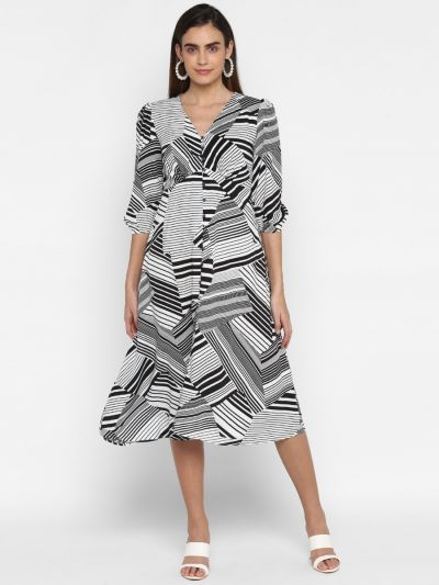 Black and white printed empire dress