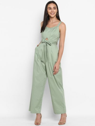 Green solid stylised jumpsuit