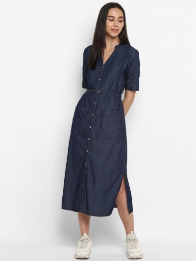 Navy solid midi dress with belt