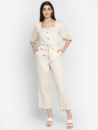 Fawn solid stylised jumpsuit with belt