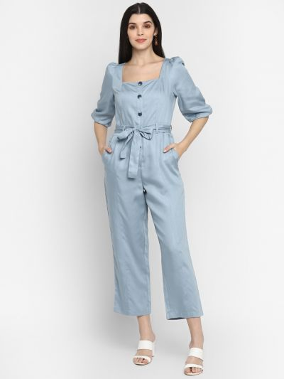 Blue solid stylised jumpsuit with belt