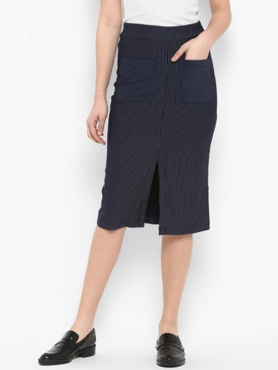 Navy Blue & Off-White Striped Pencil Skirt