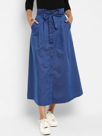 Blue Solid Flared Maxi Skirt