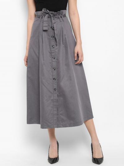 Grey Solid Flared Maxi Skirt
