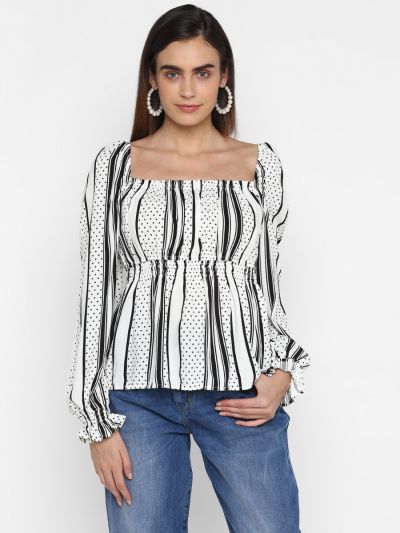 Printed smocked empire top