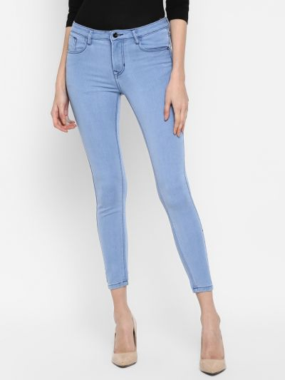 Skinny Fit Mid-Rise Cropped Clean Look Jeans