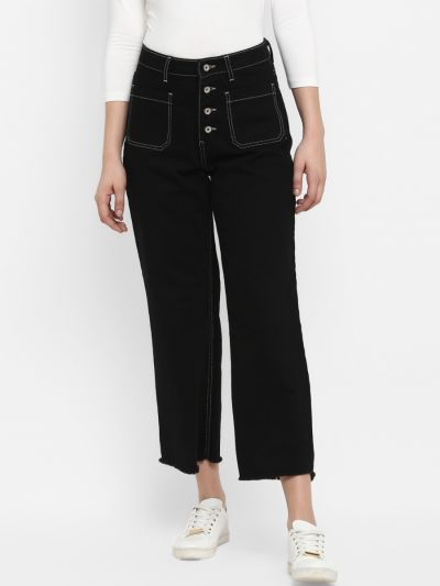 Black Straight Fit Mid-Rise Clean Look Stretchable Jeans