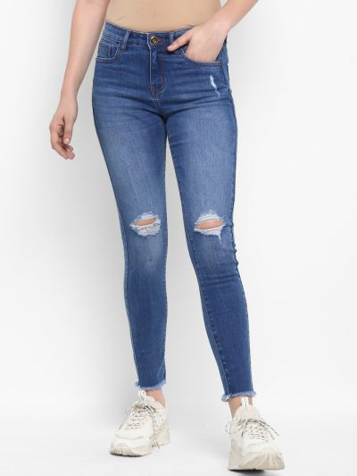 Blue Slim Fit Mid-Rise Mildly Distressed Stretchable Jeans