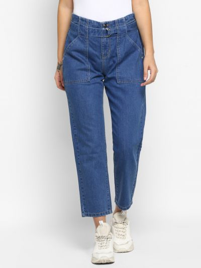 Blue Patch Pocket Straight Fit Jeans With Belt