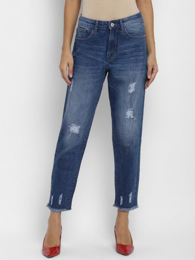 Mom Fit High-Rise Distressed Jeans