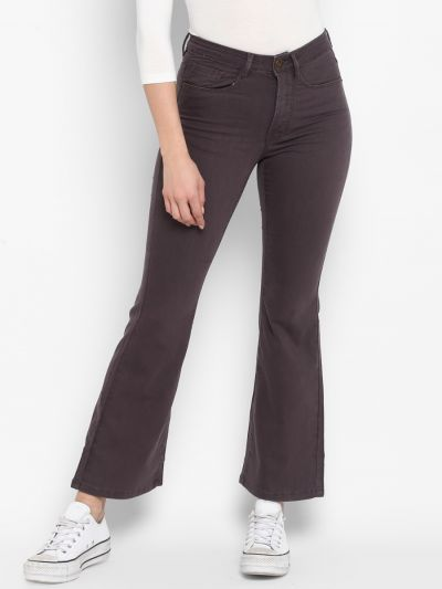 Brown cropped mini flare Mid-rise trousers