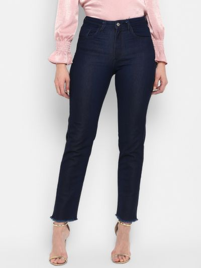 Navy Blue Stylish Fitted Jeans