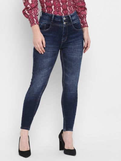 Navy Denim Faded Mid Rise Double Belt Skinny Fit Jeans