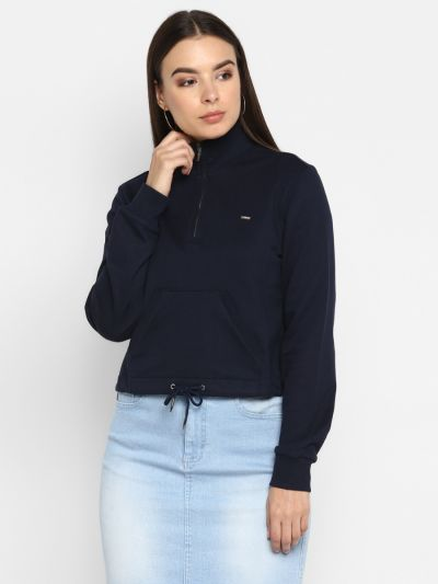 Navy Blue Sweatshirt with Patch Pocket