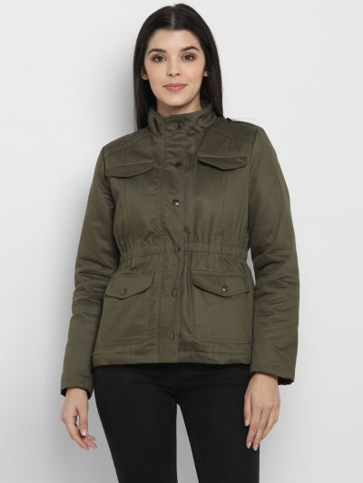 Olive solid quilted jacket