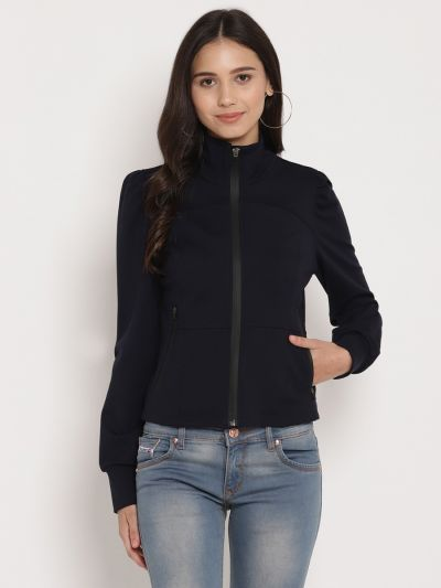 Navy solid knitted  jacket  with zipper