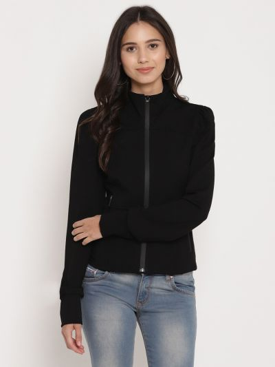 Black solid knitted  jacket  with zipper