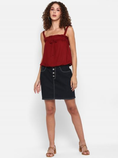 Wine solid strappy top