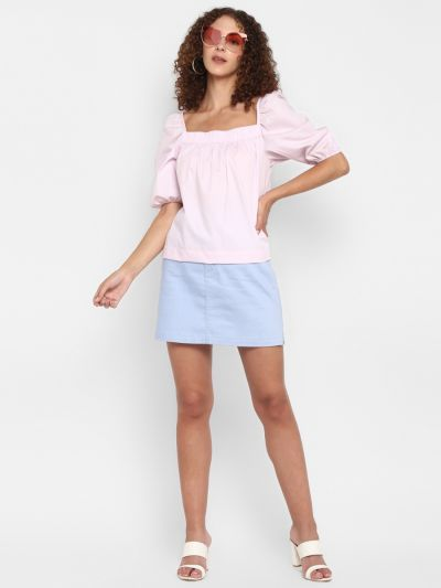 Pink solid A-line top