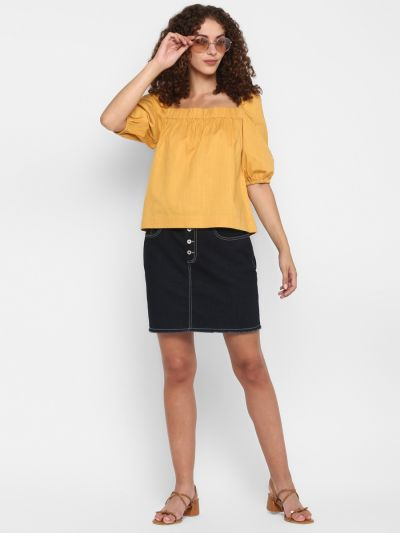 Mustard solid A-line top