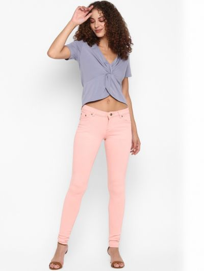 Lavender solid front knot  top