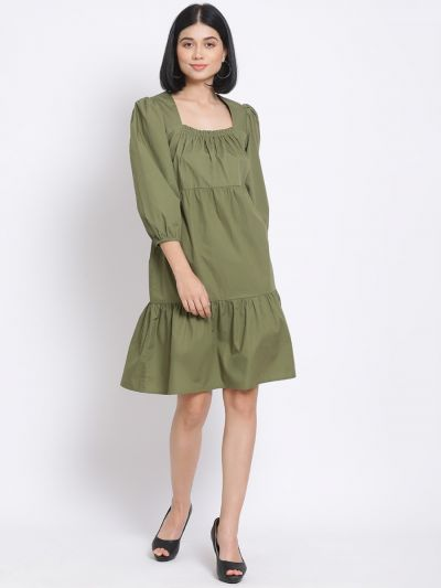 Green solid flared dress