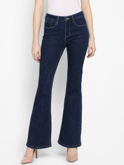 Blue Bootcut Mid-Rise Clean Look Jeans