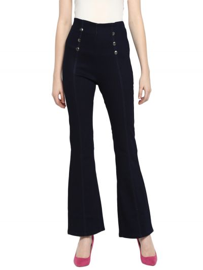 Blue Bootcut Mid-Rise Clean Look Stretchable Jeans