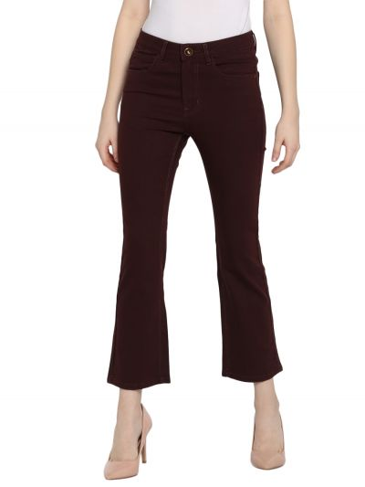 Brown Bootcut Mid-Rise Clean Look Stretchable Jeans