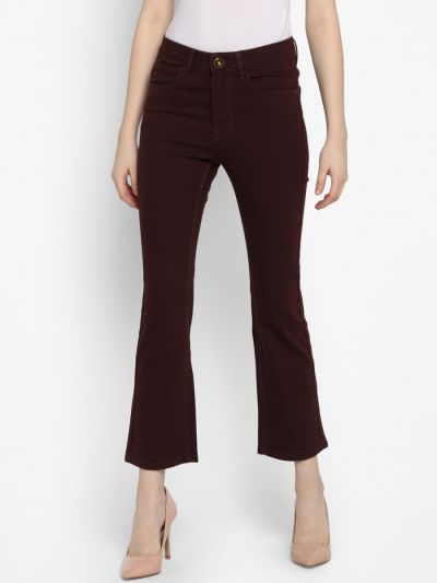 Maroon Bootcut Mid-Rise Clean Look Jeans