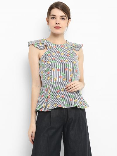 Striped Floral Sleeveless Tops, Sleeveless Tops for ladies, Women's short sleeve tops, female tops, cheap women's tops ladies casual tops, floral printed tops, Buy Casual top online, stylish casual tops online
