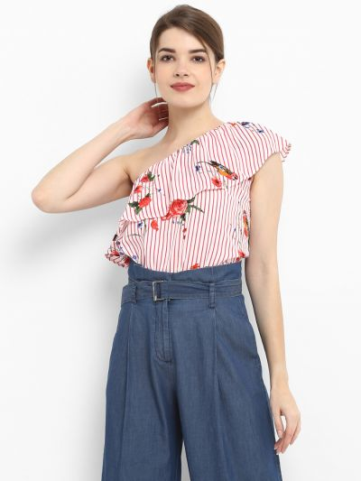 Pink Striped Printed Top, Pink Striped Floral Sleeveless Tops, Sleeveless Tops for ladies, Women's short sleeve tops, female tops, cheap women's tops, ladies casual tops, floral printed tops, Buy Casual top online, stylish casual tops online, best casual