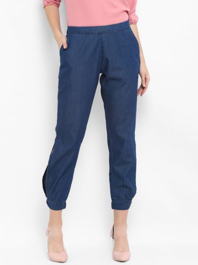 Blue Loose Fit Solid Anti Fit Trousers