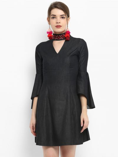 Black Solid Fit and Flare Dress