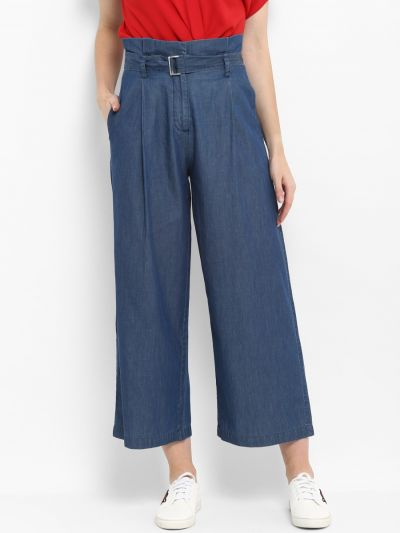 Blue Loose Fit Solid Culottes