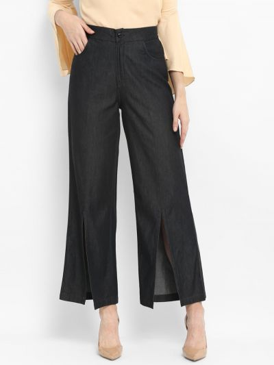 Black Loose Fit Solid Stylish Culottes