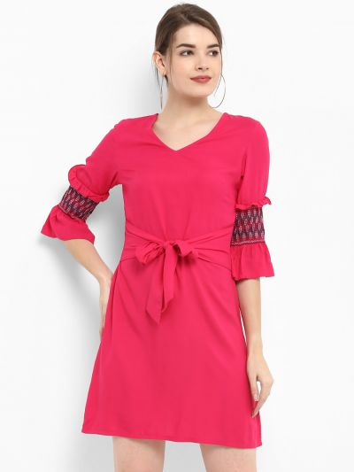 Front Tie Up Embroidered Dress