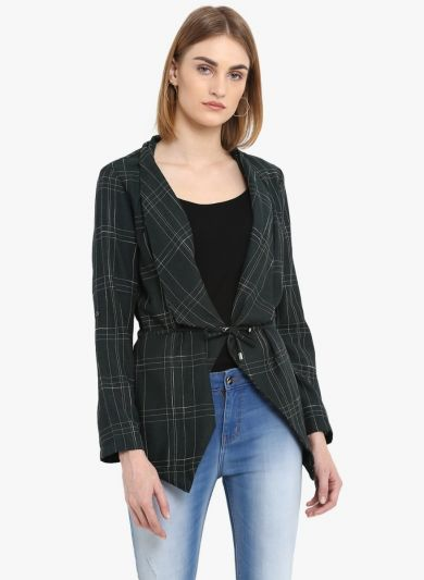 Green Striped Open Front Shrug