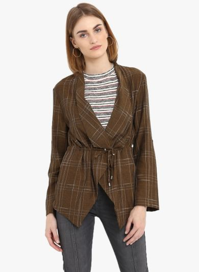 Brown Striped Open Front Shrug