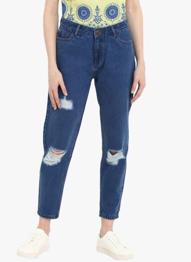 Blue Regular Fit Mid-Rise Highly Distressed Cropped Jeans