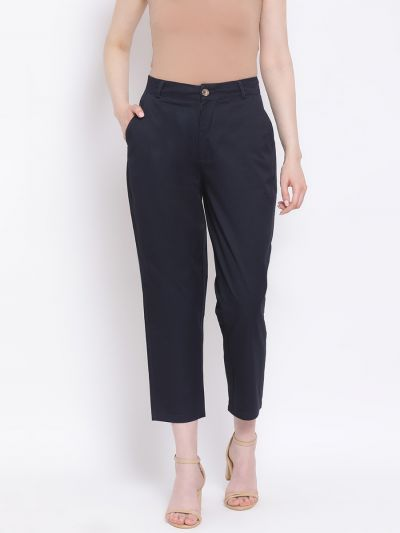Navy solid regular fit trousers