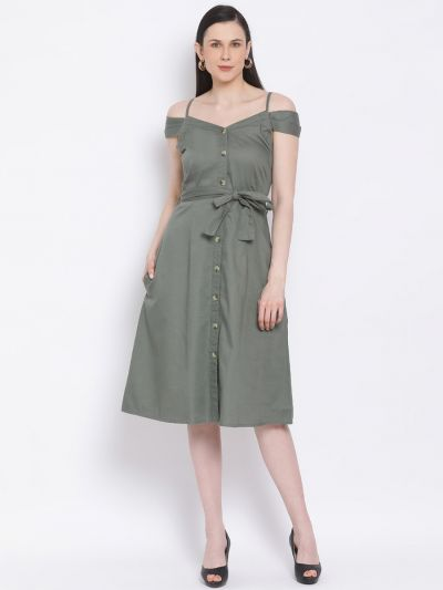 Olive solid A-line Dress with belt