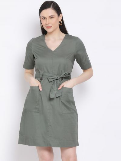 Olive solid sheath dress with belt