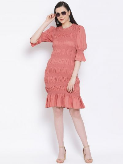 Peach solid smocked body fitted dress