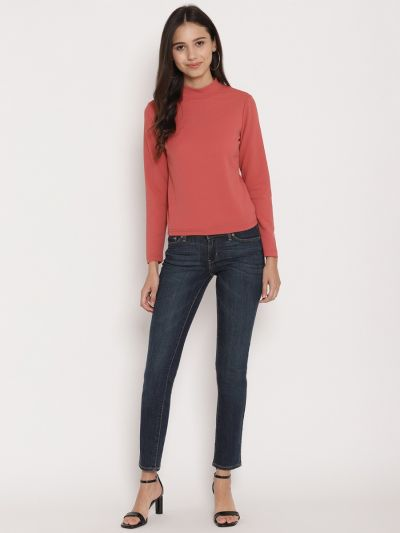 Peach turtle neck fitted basic top